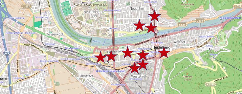 Open Streetmap-Karte mit eingezeichneten Orten der Treffen als Sterne