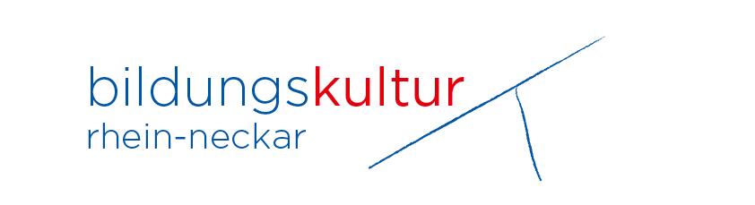 Schriftzug Bildungskultur Rhein-Neckar in blau rot gehalten, zwei Linien kreuzen sich und symbolisieren die Flüsse Neckar und Rhein