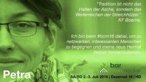 """Portrait von Petra mit Zitat von KF Boerne und von ihr: """"Ich bin beim #bcrn16 dabei, um zu netzwerken, interessanten Menschen zu begegnen und meine neue Heimat kennenzulernen."""""""