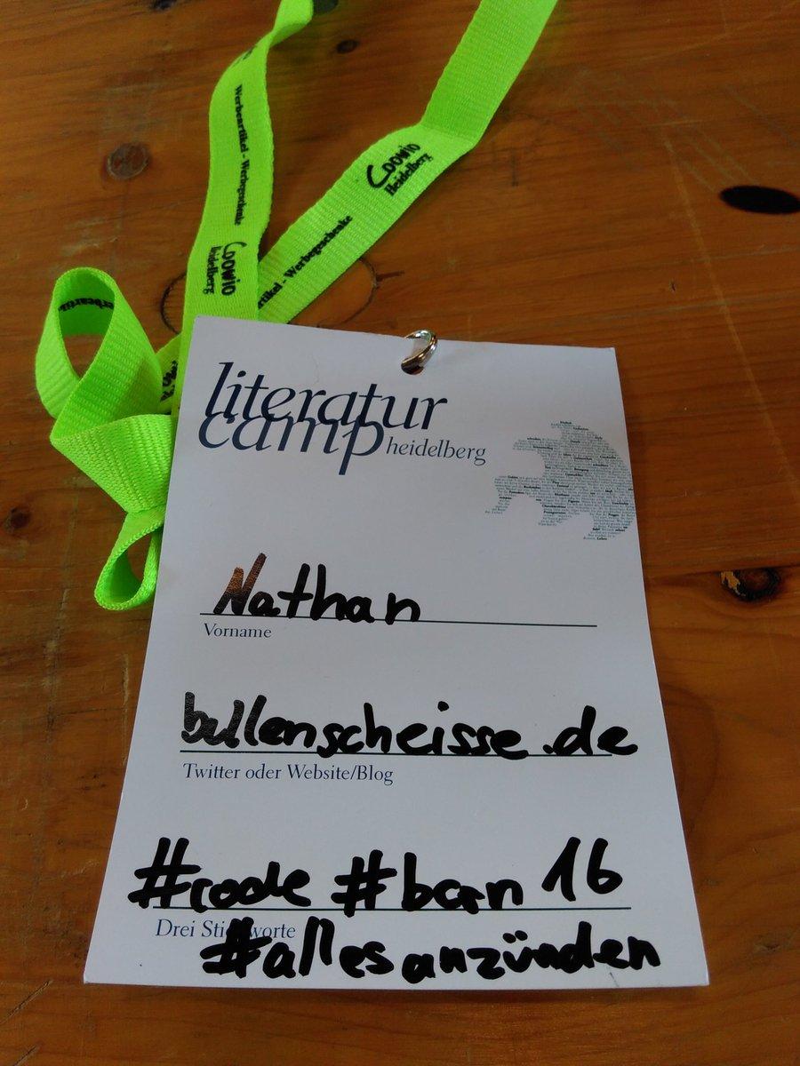 Teilnehmerkarte mit Hastags beim Litcamp