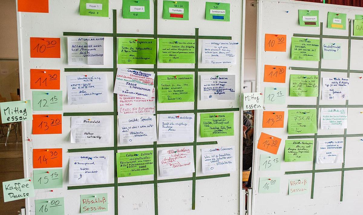 Sessionplan vom Barcamp-Rhein-Neckar 2016.