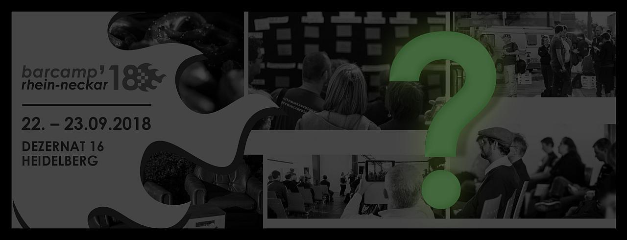 #barkompromiss Titelbild der Website in schwarzweiß mit einem Fragezeichen in grün darüber
