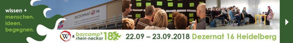 Banner mit Hinweis auf das Barcamp Rhein-Neckar und das WikiDACH