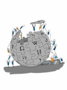 Gezeichnet: Männchen Bauen an einer Kugel, das Wikipedia Logo