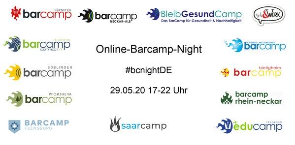 Ankündigung für die Barcampnacht mit verschiedenen Logogs