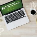Ein Laptop mit dem Logo des Barcamp Rhein-Neckar. Daneben steht: Deine Session.